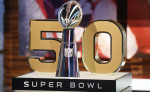 A detail view of the Vince Lombardi Trophy and the 50 numerical symbol indicating the celebration of upcoming Super Bowl 50  is seen during a media availability at the NFL Network studios, Wednesday, Sept. 9, 2015, in Culver City, California. (AP Photo/Danny Moloshok)